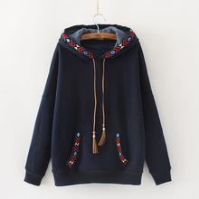 Женские толстовки с капюшоном с вышивкой и кисточками, женская теплая толстовка с капюшоном и длинным рукавом, повседневный бархатный кашемировый пуловер в стиле Харадзюку