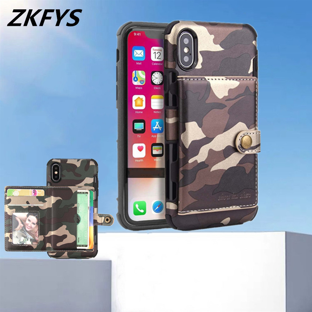 Army Camouflage Back Card Slot Cover For iPhone XR 8 7 Plus Protective Case 6 6s Xs Max Shockproof Phone