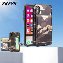 Army Camouflage Back Card Slot Cover For iPhone XR 8 7 Plus Protective Case For iPhone 6 6s Plus Xs Max XR Shockproof Phone Case protective plastic back case for iphone 6 plus deep blue
