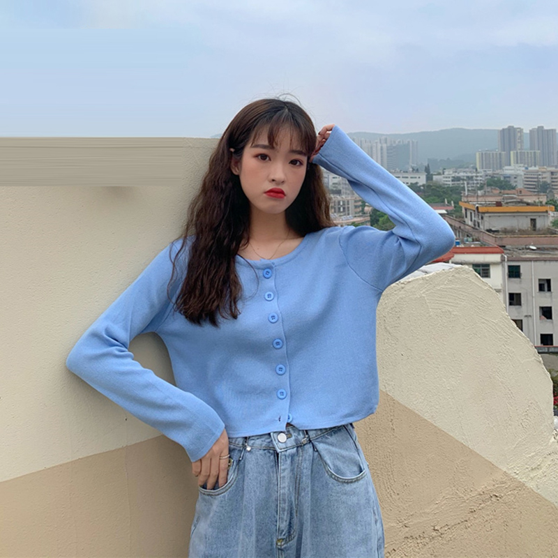 Kawaii Cropped Cardigans Women Knit Crop Sweater Top Blue Black Sexy Sweaters Cute Knitted Sweater Vintage Korean GD343