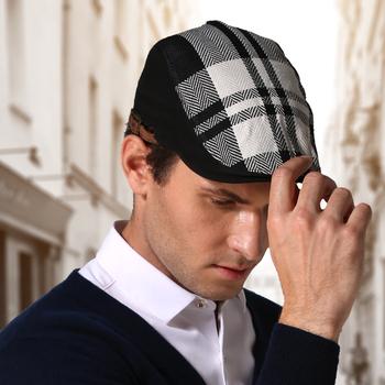 Materiał konopny płaska czapka czarno-biały Beret w kratkę Beret męski kapelusz tanie i dobre opinie outfly Dla dorosłych Unisex COTTON B11124 Plaid Na co dzień Berety Wild printing Hip hop lattice Winter spring autumn