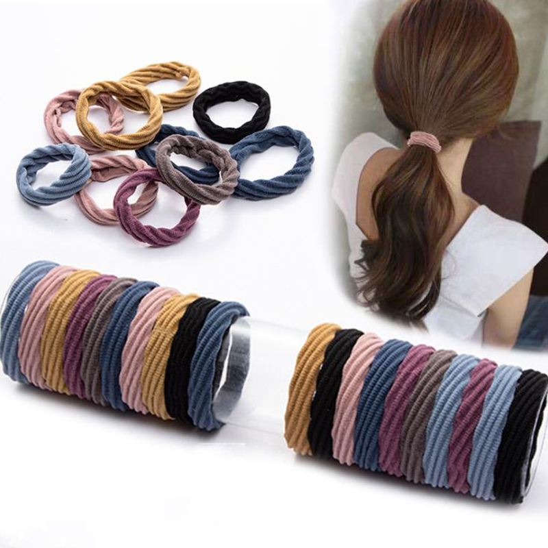 10Pcs/Lot Solid Color Lady Hair Scrunchies Hairband Basic Elastic Hair Bands Ponytail Fashion Women Tie Gum For Hair Accessories
