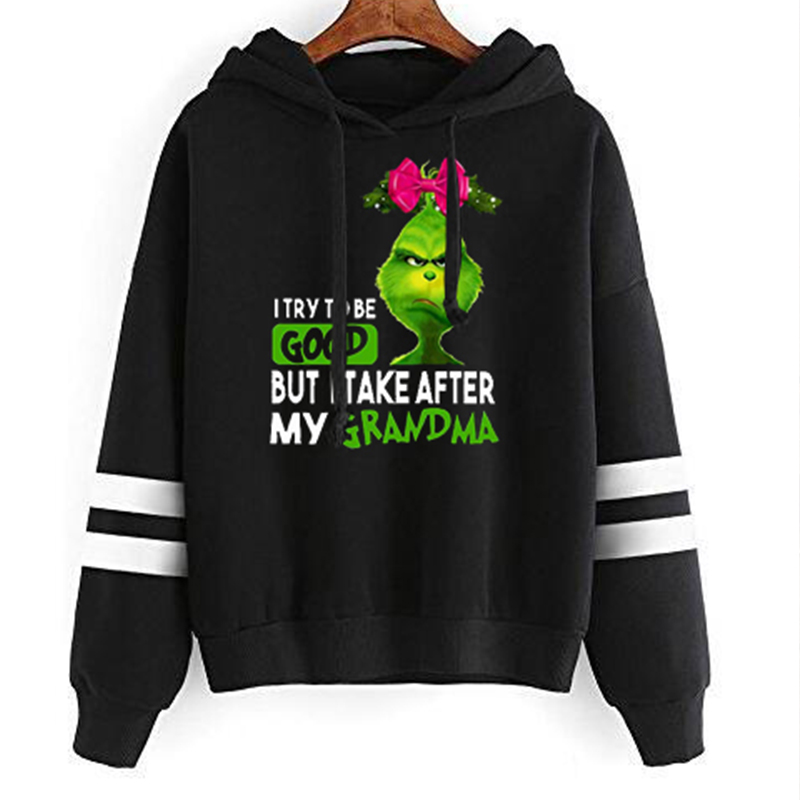 I Try To Be Good But I Take After My Grandma Grumpy Grinch  Hoodies Women Christmas Sweatshirt Vintage Womens Clothing Pink