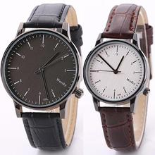 Vintage Faux Leather Band Analog Quartz Movement Wrist Watch Men Women