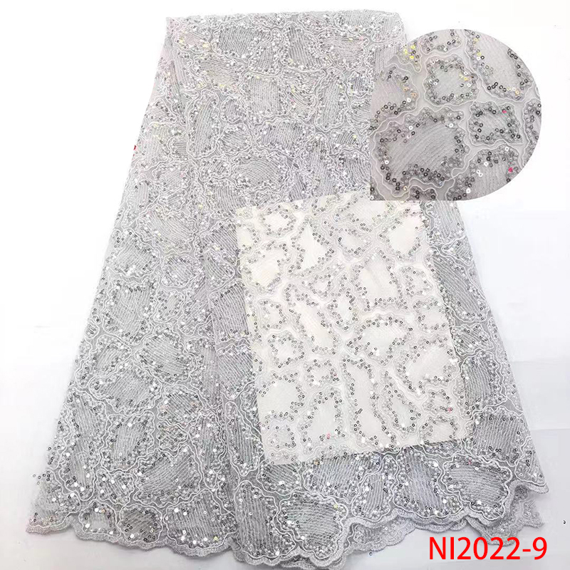 French Tulle Lace Fabric Best Selling African Lace Sequin High Quality African Laces With Sequence For Wedding Dress KSNI2022-9