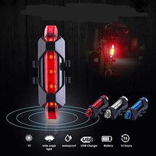 New Bike Bicycle light Rechargeable LED Taillight USB Rear Tail Safety Warning Cycling light Portable Flash Light Super Bright(China)