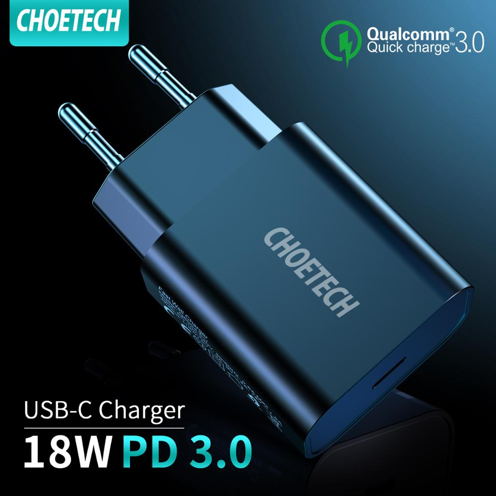 CHOETECH USB Type C PD Charger 18W Power Delivery Fast Wall Charger for iPhone 11Pro Max XS XR iPad Pro Samsung Note10 9 S10+ S9