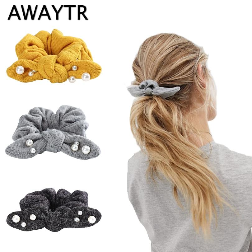 AWAYTR Scrunchies Women Knitting Pearl Hair Rope Girls Cute Rabbit Ear Elastic Hair Band Hair Rope Gum For Girls Ponytail Holder