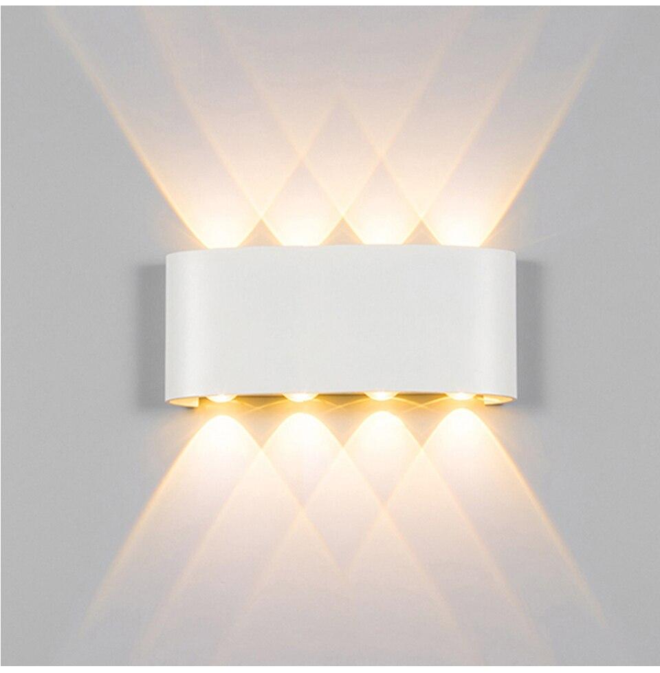 קיר מנורת Led אלומיניום חיצוני מקורה Ip65 עד למטה לבן שחור מודרני לבית מדרגות חדר שינה חדר אמבטיה מיטת אור