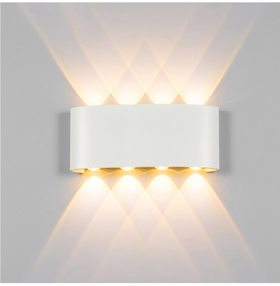 الجدار مصباح Led الألومنيوم في الهواء الطلق داخلي Ip65 حتى أسفل أبيض أسود الحديثة للمنزل الدرج غرفة نوم السرير الحمام الخفيفة