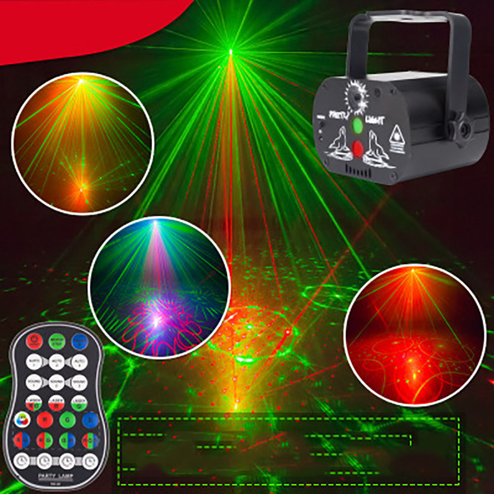 DJ Disco Light Stage Lights Voice Control Music Laser Projector Lights 60 Modes RGB Effect Lamp For Party Show With Controller