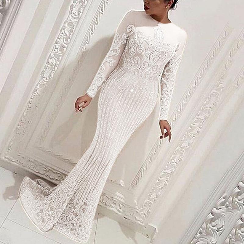 Женское платье макси с блестками, облегающее белое платье Русалка Вечерние длинным рукавом, в пол, зима 2020|Платья| | АлиЭкспресс