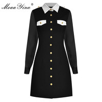 MoaaYina Fashion Designer dress Spring Autumn Women's Dress Turn down Collar Long sleeve Single breasted Slim Dresses