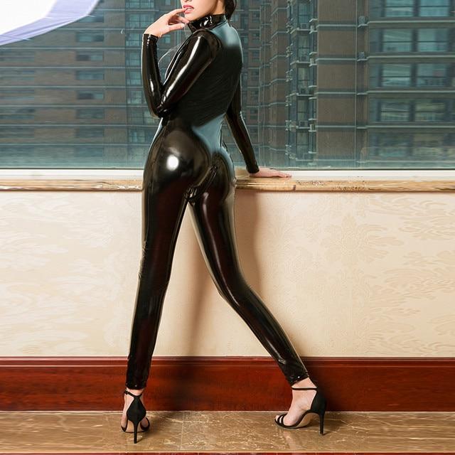 Catsuit Sexy de cuero de imitación para mujer, mono de látex de PVC con cremallera frontal y entrepierna abierta, body elástico, disfraces eróticos 2