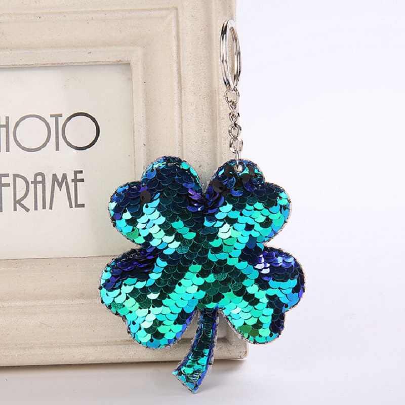 Pendant Holder Car Bag Accessories Glitter Sequins Keychain Clover Key Ring