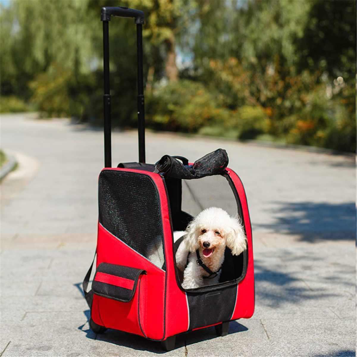 สุนัขรถเข็นเด็ก Carrier เดินทางสุนัขสัตว์เลี้ยงกระเป๋าเป้สะพายหลังเดินกระเป๋าเดินทางกระเป๋าเดินทางสี่ล้อ Breathable Carry Cart Draw-Bar กล่อง
