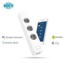 Wi-Fi розетка Smart Мощность полосы 3 ЕС Smart Plug Розетки с 2 портами (стандарт приложение smart life голос Управление для Alexa Google Home Функция времени