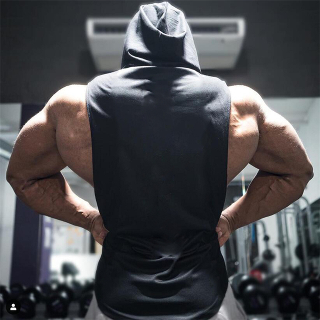 Brand Gyms Clothing Mens Bodybuilding Hooded Tank Top Cotton Sleeveless Vest Sweatshirt Fitness Workout Sportswear Tops Male 3