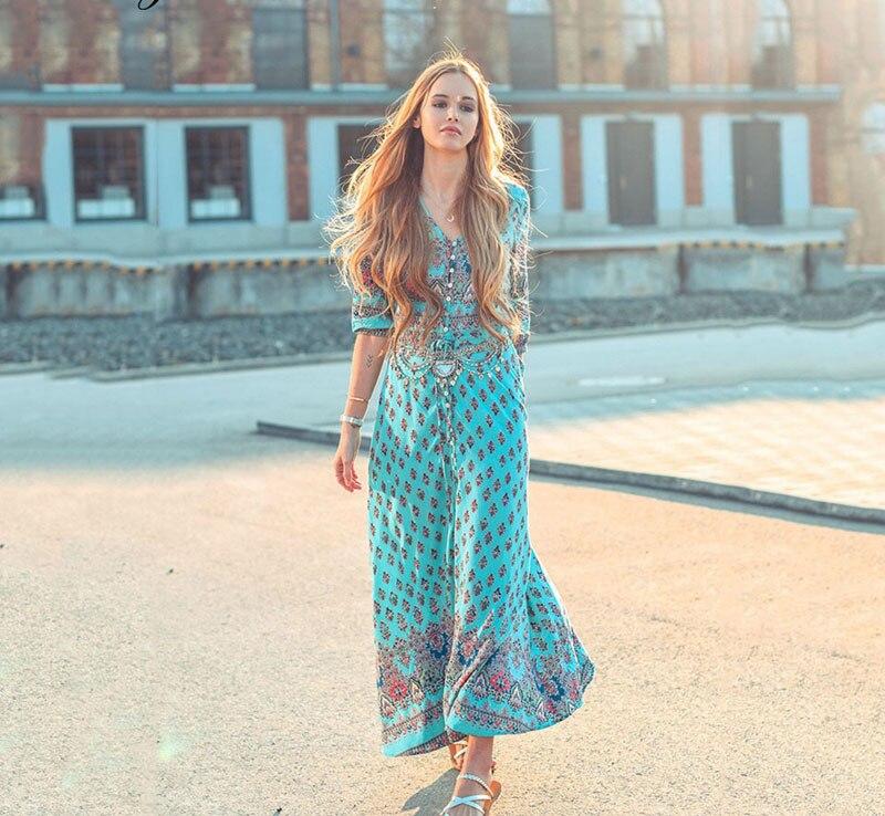 Femmes Floral longue Maxi robe manches régulières soirée fête automne arc-en-ciel rayé robes de plage