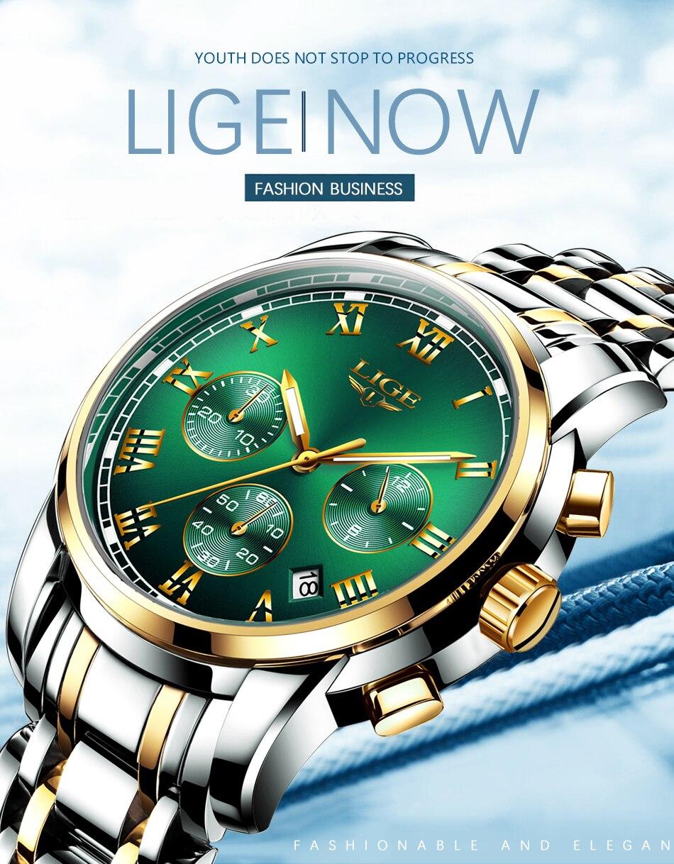 H2290492939c348a385803aa37da71f5aG Watches Mens 2019 LIGE Top Brand Luxury Green Fashion Chronograph Male Sport Waterproof All Steel Quartz Clock Relogio Masculino