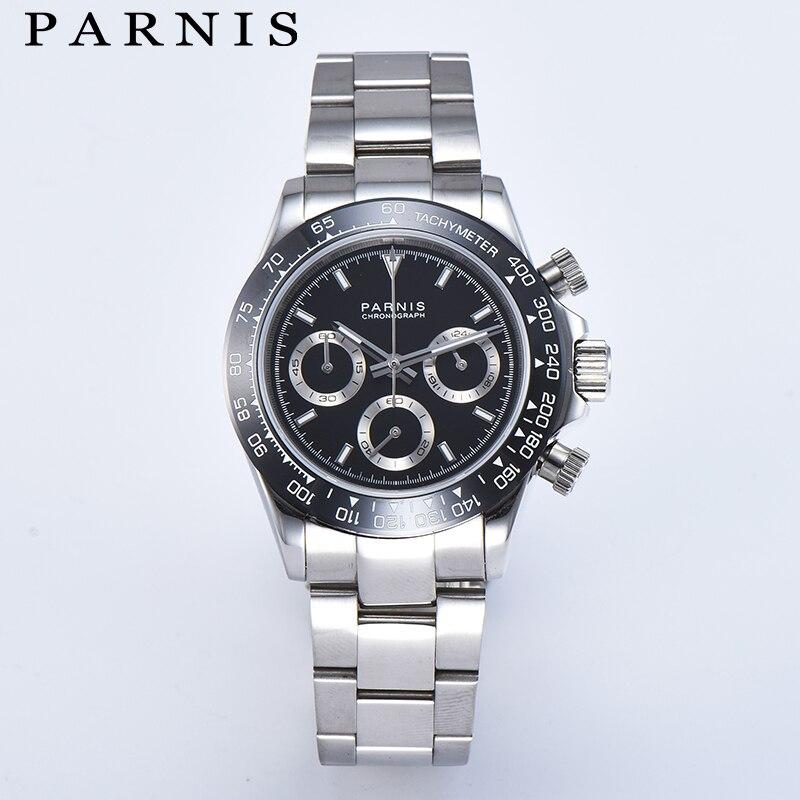 Parnis, 39 мм, Мужские кварцевые часы, серебро, браслет из нержавеющей стали, хронограф, мужские часы VK64, Move, Мужские t для мужчин, подарок с