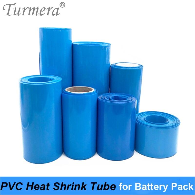 Turmera 30мм до 210мм батареи оберните синий Теплоусаживающ трубки из ПВХ термоусадочная трубка для 18650 21700 32700 литий-ионный аккумулятор DIY настроить