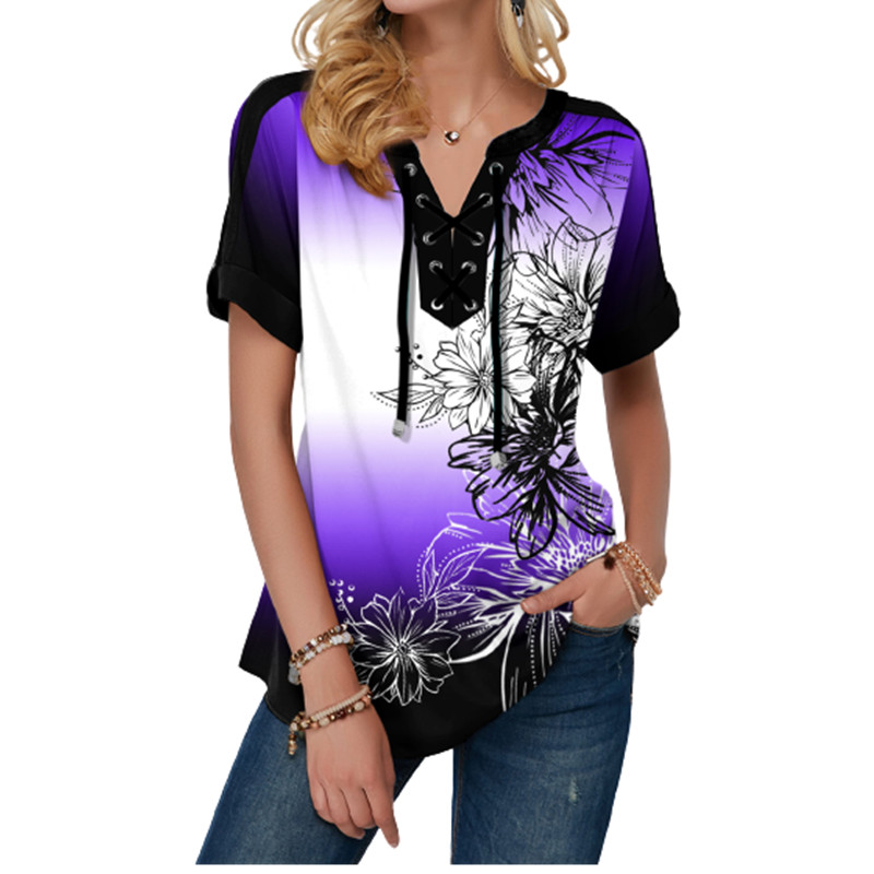 New Summer Women Blouses 3D Print Tie Dye Gradient Tops Casual Short Sleeve V-Neck Lace Up Oversize Shirt 5XL Loose Tops 10