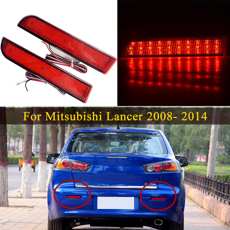Rear Bumper Reflector <font><b>Light</b></font> For <font><b>Mitsubishi</b></font> Lancer <font><b>2008</b></font>- 2014 EVO Evolution <font><b>Outlander</b></font> Sport Rear Stop Signal Fog <font><b>light</b></font> Tail lamp image