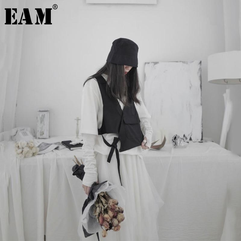 [EAM] Women Black Asymmetrical Bandage Stitch Loose Fit Vest New V-collar Sleeveless   Fashion Tide Spring Autumn 2020 1S224