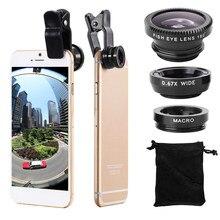 3 IN 1 Weitwinkel Micro Zoom Fisheye Objektiv Clip auf Smartphone für Samsung Huawei Telefon Kamera Fisch Auge Len webcam Abdeckung Fall