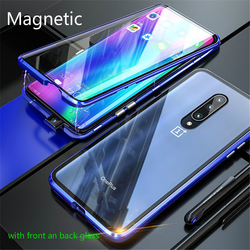 На Алиэкспресс купить стекло для смартфона metal magnetic protection case for oneplus 7 pro full protection double sided transparent tempered glass cover for one plus 6 6t