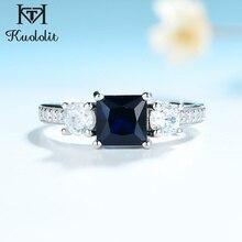 Kuololitサファイア宝石セットリング女性のための平方ブルー石固体 925 スターリングシルバージュエリーハーフサイズ結婚式のためsize10