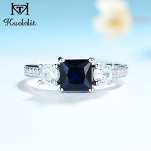 Kuololit 사파이어 보석 세트 여성을위한 반지 SQ 블루 스톤 솔리드 925 스털링 실버 주얼리 하프 사이즈 반지 결혼식 Size10