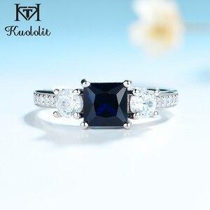 Image 1 - Kuololit 사파이어 보석 세트 여성을위한 반지 SQ 블루 스톤 솔리드 925 스털링 실버 주얼리 하프 사이즈 반지 결혼식 Size10