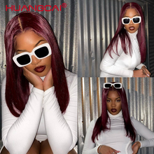 99j красные бразильские прямые волосы средней части, парик на шнуровке спереди, человеческие волосы для женщин, предварительно выщипанные 150%...