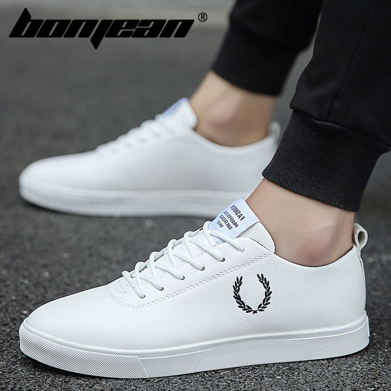 Fashion Men Casual Shoes Breathable Lace-Up Low Top Faux Leather Leisure Flats