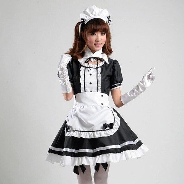4# Maid Cosplay Costume Dresses Women Headwear Apron Fake Collar Bowknot Dress Sweet Kawaii Short Sleeve Dresses Kleider Damen 1