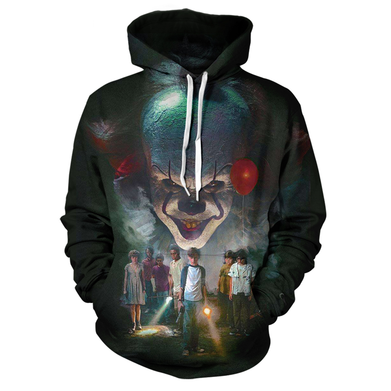 Best Selling Casual Men's Horror IT Movie Horror Clown Sweatshirt Wild Pullover Autumn And Winter Personality Hooded Jacket