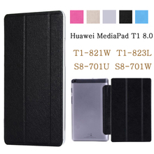 Tablet case for funda HuaWei MediaPad T1 8.0 case S8-701U S8-701W T1-821W case PU leather flip cover stand case protective shell case for huawei mediapad t1 7 0 inch t1 701 t1 701u t1 701w 7 0 cover magnetic flip tablet case pu leather smart cover coque