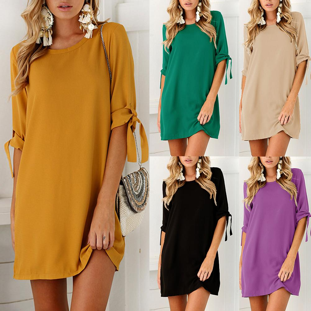 Mini Dress Half-Tied-Sleeve Plus-Size Casual Women O-Neck Loose Solid