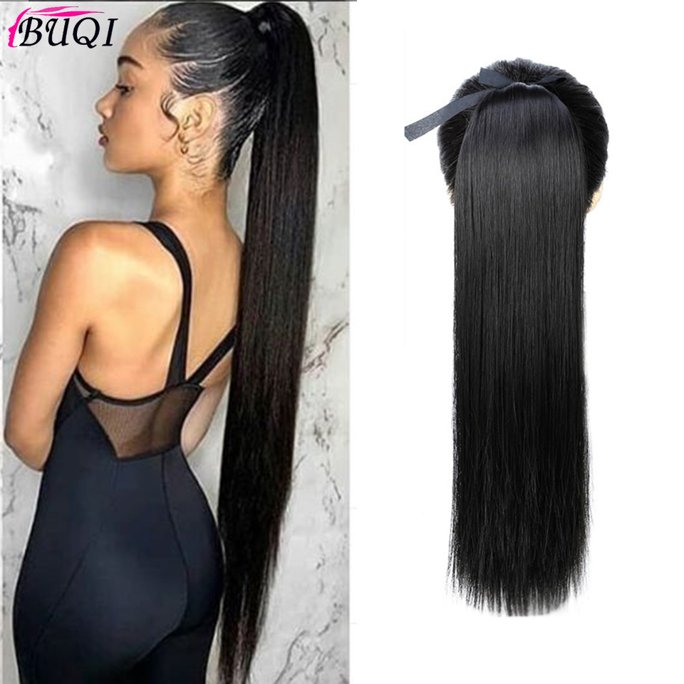 BUQI Synthetic Ponytail Hair Extension Long Straight Women's Clip In Hair Extensions Pony Tail False Hair 22 Inch
