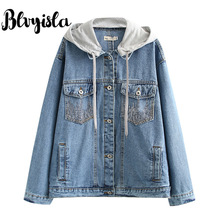 3XL Asia Oversize Short Style Boyfriend Denim Jacket Coats Women Cool Single Breated Pockets Outwears Retro Plus Size Cowboy Top