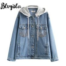 3XL Asia Oversize Short Style Boyfriend Denim Jacket Coats Women Cool Single Breated Pockets Outwears Retro Plus Size Cowboy Top