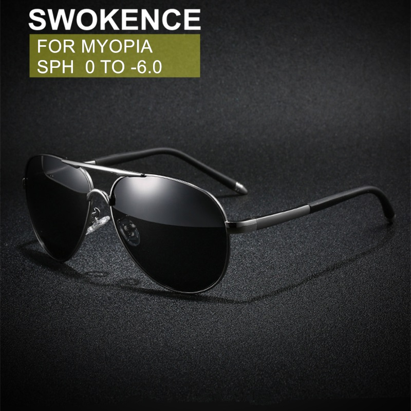 SWOKENCE Myopia <font><b>Sunglasses</b></font> SPH -0.5 -<font><b>1</b></font> -<font><b>1</b></font>.5 -2 -2.5 -3 -3.5 -4 -4.5 -5 -5.5 -<font><b>6</b></font> Men Women Nearsighted Glasses With Diopter F133 image