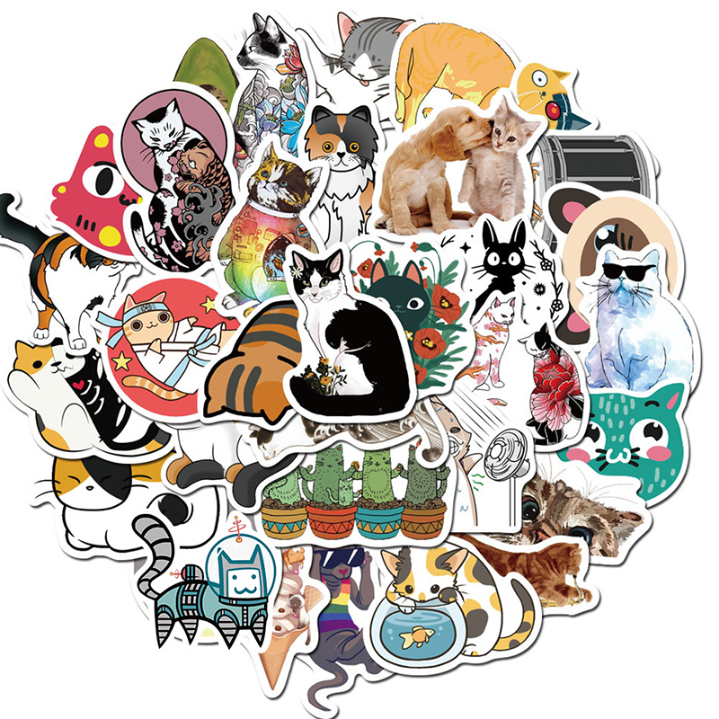 50pcs Cartoon Cute Cats Decorative Stickers Diy Luggage Trolley Case Explosion Style Graffiti Stationery Stickers Children Gifts