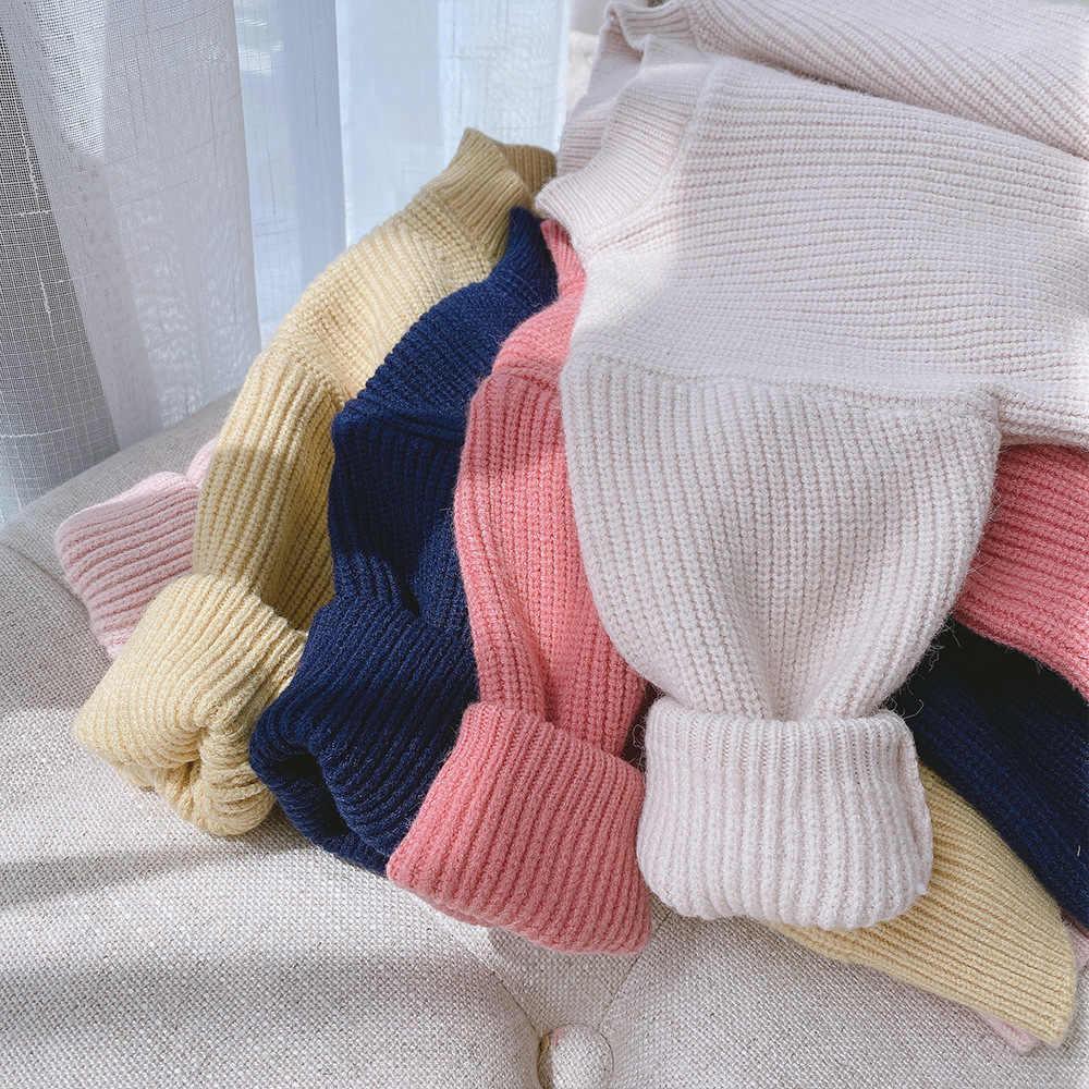 เสื้อกันหนาวเด็กหญิง2020ฤดูใบไม้ร่วงลูกอมสีใหม่O-Neck Casual Pulloverเสื้อกันหนาวTops Coat 3M-6Y