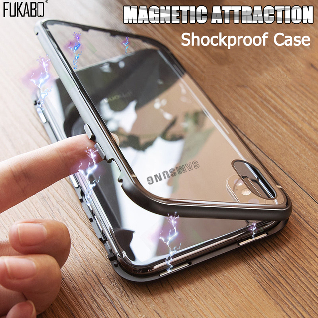 Magnetische Adsorptie Case Voor Samsung Galaxy A50 A70 A7 2018 S8 S9 S10 Plus S10e Shockproof Case Voor Note 9 8 10 Pro Back Cover