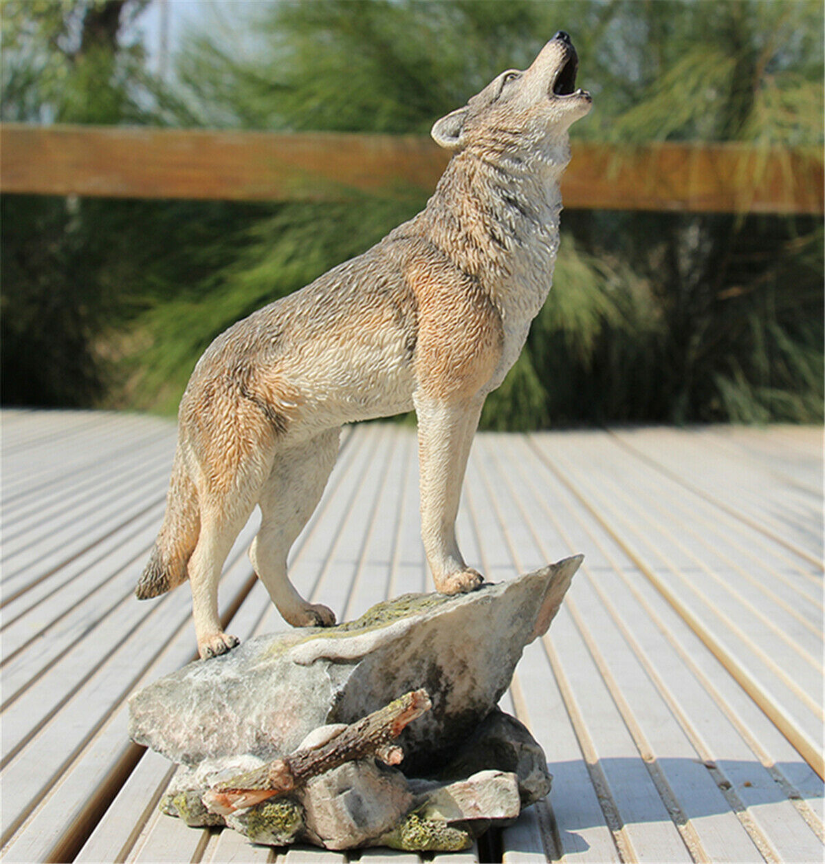 JJM Wolf Coyote Model Animal Figure Resin Toy Collector Decor Base Gift Canis lupus Educational for Children Adults Kids Gift