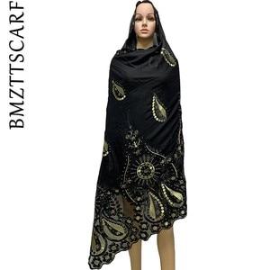 Image 3 - High Quality African Women Scarfs embroidery muslim women big cotton scarf for shawls BM947