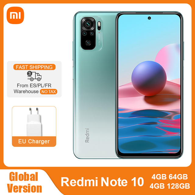 Global Version Xiaomi Redmi Note 10 4GB 64GB / 128GB Mobile Phone Snapdragon 678 6.43″ AMOLED Display 48MP Quad Camera 5000mAh 1